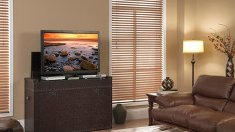 Ellis Trunk Aged Cigar Leather TV Lift Cabinet For Flat Screen TV's Up To 46""
