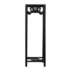 Chinese Huali Dark Brown Square Ru Yi Pattern Stand Pedestal Table Hcs4637
