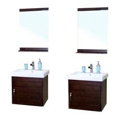"Bellaterra 48.8"" Double Wall Mount Style Sink Vanity, Birch Wood, Walnut Finish"