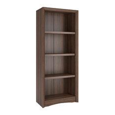 """Corliving Quadra 59"""" Tall Bookcase, Walnut Faux Woodgrain Finish"""