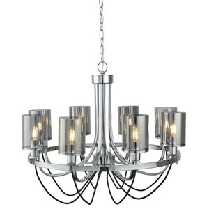 Catalina 8-Light Ceiling Chrome Black Braided Cable Smoked Glass