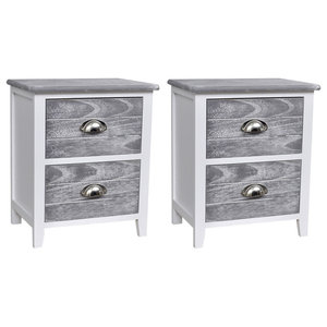 VidaXL Bedside Cabinets  With 2 Drawers, Grey and White, Set of 2