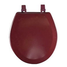 Hard Wood Standard Round Toilet Seat, Burgundy