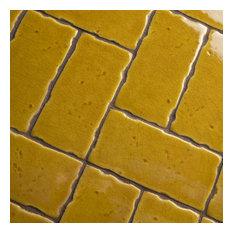 "2.5""x5.13"" Nove Subway Ceramic Wall Tile, Set of 60, Marigold"