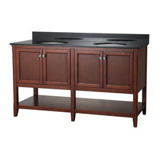 "Auguste 60"" Bathroom Vanity, Chestnut With Four Doors And Open Shelf"