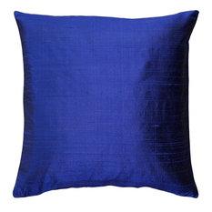"Pillow Decor Sankara Silk Throw Pillows 18""x18"", Dark Blue"