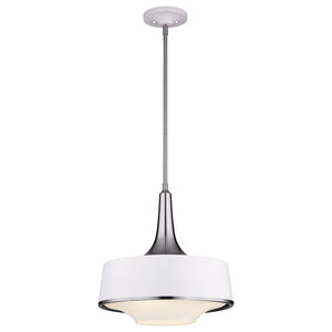 Brushed Steel Pendant, Textured White