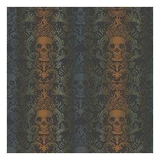 Luther Orange Skull Modern Damask Wallpaper Wallpaper Bolt