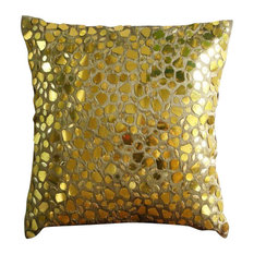 Gold Mosaic Pillows Cover, 20x20 Silk Pillows Covers for Couch, the Gold Mosiac