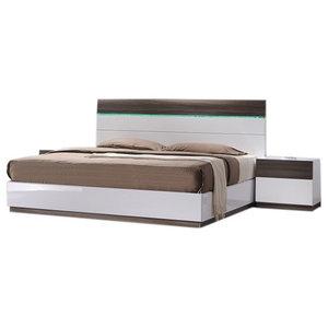 Sanremo B Modern 3-Piece Bedroom Set, Walnut and White, Queen