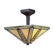 Z-Lite Shalimar 2-Light Leaded Glass Chestnut Bronze Semi Flush Mount
