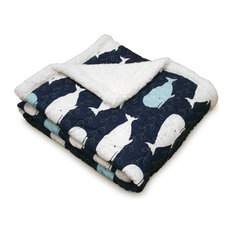 Navy Whale Sherpa Throw