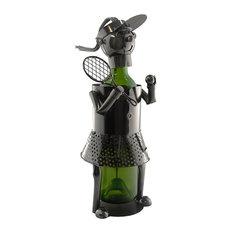 Metal Happy Woman Tennis Player Wine Bottle Holder Character