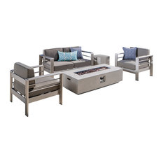 5-Piece Coral Bay Outdoor Khaki Chat Set and Fire Table Set, White