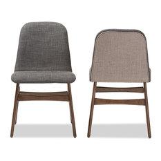 Embrace Fabric Walnut Wood Finishing Dining Chair Dark Gray Set Of 2