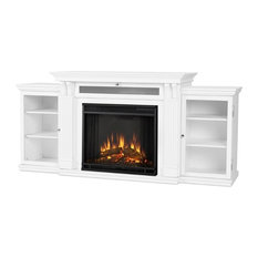 Calie Entertainment Center Electric Fireplace in White