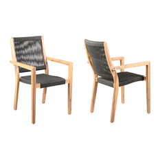 Madsen Outdoor Patio Charcoal Rope Arm Chair - Set of 2, Teak