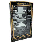 """Oriental Furnishings - 33"""" Shiny Black Lacquer Hand Painted Landscape Oriental Wall Curio For Nesuki - 33 inches high Oriental wall curio for miniatures. Beveled glass, and brass hangars. Shiny Black with hand painted Japanese landscape and 19 shelves for miniatures. Hang on a wall or free standing ,solid wood construction measures Dimensions: 20 x 5.5 x 33 inches tall. We suggest just dusting for maintenance."""