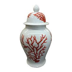 "Orange and White Coral Reef Pattern Porcelain Temple Jar 20"""