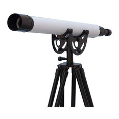 """Oil-Rubbed Bronze-White Leather, Black Stand Anchormaster Telescope, 50"""""""