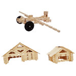 """Timberworks Toys - King Building Set - Award winning King Set is the best construction toy available for use in the classroom or home. This large set allows children to build with natural wooden logs, and unique shapes to build toy cars, log cabins and covered bridges that are made in the USA. We include a curriculum packet for classroom integration of the Next Generation Science Standards (NGSS) with Engineering Design Challenges for elementary students. 100 piece innovative building set includes timbers, widgets, gable ends (triangles), wheels, and more. This large construction set, with timbers up to 24"""" in length, provides children the ability to create anything from a car to a house, a bridge, or a plane."""