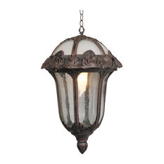 Rose Garden Large Pendent Light with Seedy Glass, Copper