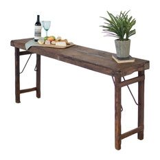 Antique Style 68-inch Long Console Table Folding Collapsible Dark Brown Wood
