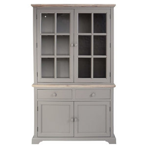 Display Cabinet, Solid Wood With Inner Shelves and 2 Spacious Drawers, Grey