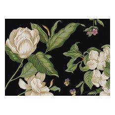 Cork-Back Hardboard Placemats Black Floral Images Set of 4