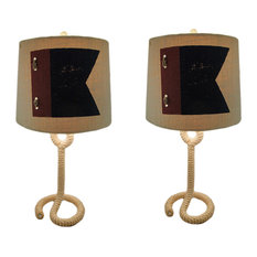 Pair of Rope Base Nautical Flag Table Lamps with Linen Shades