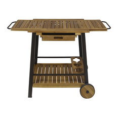 Michaela Outdoor Wood and Iron Bar Cart with Tray Top and Bottle Holders
