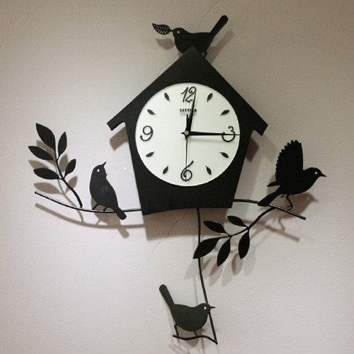 birds house pattern modern design artistic wall clock wall clocks - Modern Designer Wall Clocks