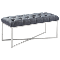 Marcello Bench, Slate Gray Linen and Brushed Stainless Steel Finish
