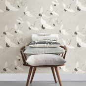 A Street Prints Windsong Gray Crane Contemporary Wallpaper, Single Roll