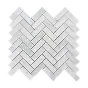 Carrara Herringbone Pattern Polished Tile, White, Sample