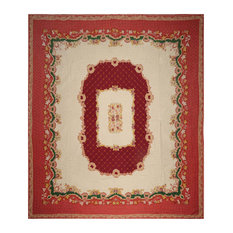"Beige Burgundy Color French Aubusson   Rug, 11'10""x13'5"""
