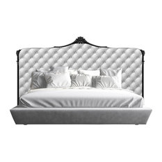 Acrylic Baroque Style Upholstered Headboard, White, Queen