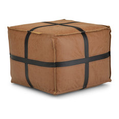 Anson Square Pouf, Brown Faux Leather