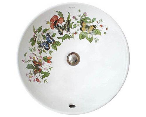 Butterflies Flowers Painted Vessel Sink Bathroom Sinks