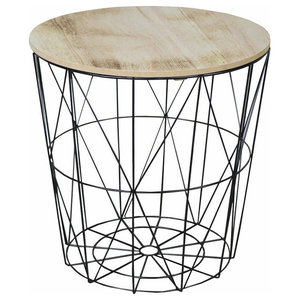 Contemporary Round Side Table with Black Metal Wire Frame and Wooden Top