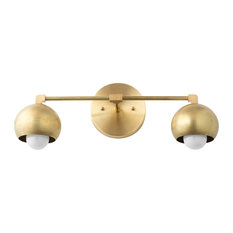Mid-Century Unfinished Brass Orb Bathroom Vanity Light