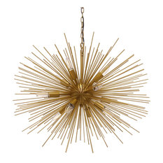 Emme Starburst 12 Light, Brushed Gold Sputnik Chandelier, Brushed Gold, 29""