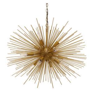 """Emme Starburst 12 Light, Brushed Gold Sputnik Chandelier, Brushed Gold, 29"""""""