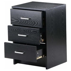 Bedside Table, Black Gloss Finished MDF With Silver Metal Handles and Drawers