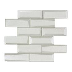 MTO0155 Modern Faceted Beveled Subway White Glossy Metallic Glass Mosaic Tile