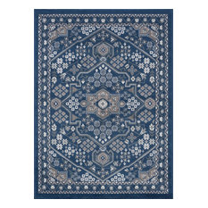 Logan Traditional Oriental Navy Rectangle Area Rug, 8' x 10'