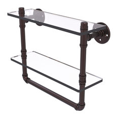 """Pipeline Collection 16"""" Doulbe Glass Shelf With Towel Bar, Antique Bronze"""