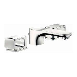 Double Handle Widespread Waterfall Bathroom Faucet Led