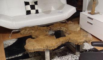 Table basse tronc d'arbre verre