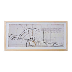"""Technical Drawing Framed Print, 15""""x32"""""""